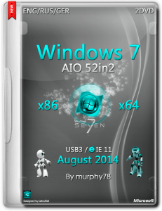 Windows 7 SP1 AIO 52in2 IE11 August 2014 (x86/x64) (2014) [Multu|RUS]
