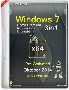 Windows 7 SP1 3in1 Pre-Activated Oktober by Generation2 (x64) (2014) [ENG/RUS/GER]