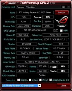 GPU-Z 0.8.8 + ASUS ROG Skin [En]