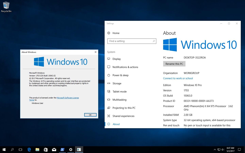 Windows 10 Pro Final Original Microsoft Vlsc: Microsoft Windows 10 Professional 10.0.15063.0 Version