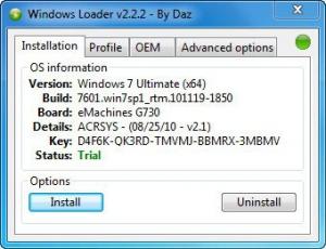 Windows Loader 2.2.2 by Daz [En]